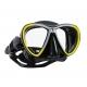 Scubapro Tauchmaske - Synergy Twin - mit Comfort Strap - Silikon: Schwarz - Rahmen: Gelb-Silber