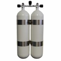 Faber Doppelgerät 2x7L Stahlflasche 200bar - weiß- Absperrbrücke - V 4 Tec Schellen - Abstand 40mm
