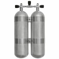 Faber Doppelgerät 2x10L Stahlflasche 200bar - Hot Dipped - Absperrbrücke - V 4 Tec Schellen
